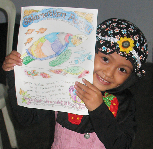 Girl with coloring sheet
