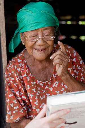 Older Tompotika resident is pleased with what she can see with her new glasses
