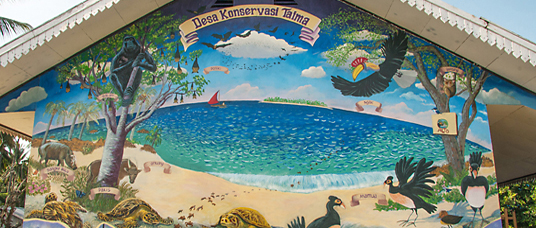 mural of beach with many endangered species