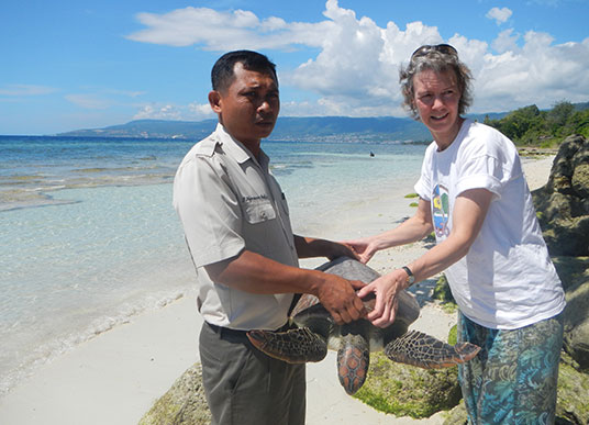a law enforcement officer and director of AlTo, Marcy Summers, carry an adult sea turtle, releasing it from illegal captivity back into the wild