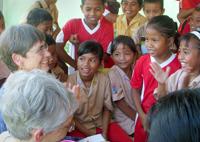 Tourists meeting Tompotikan kids