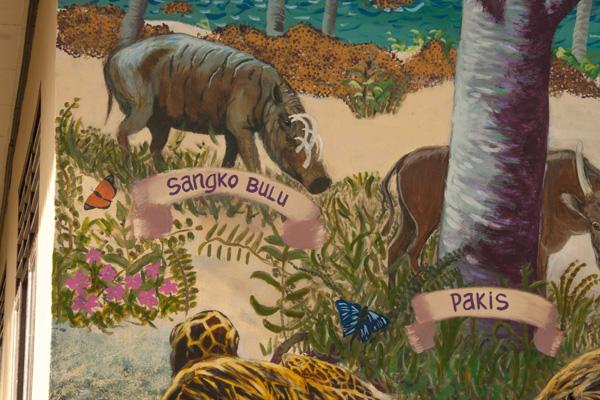 Babirusa dan yang lain di lukisan dinding Taima