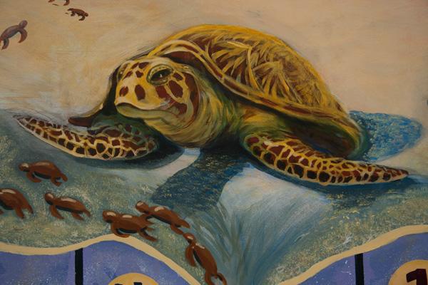Penyu di lukisan dinding Taima