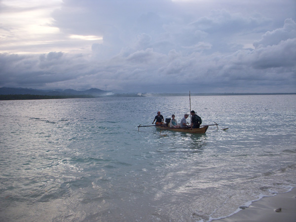 Trimaran arriving at Bat Island