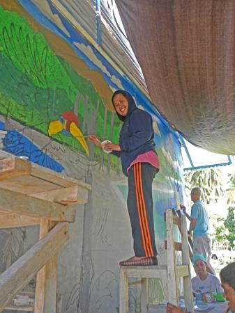 Anim working on Taima mural