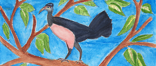 Painting of a maleo by Adri, a village school child